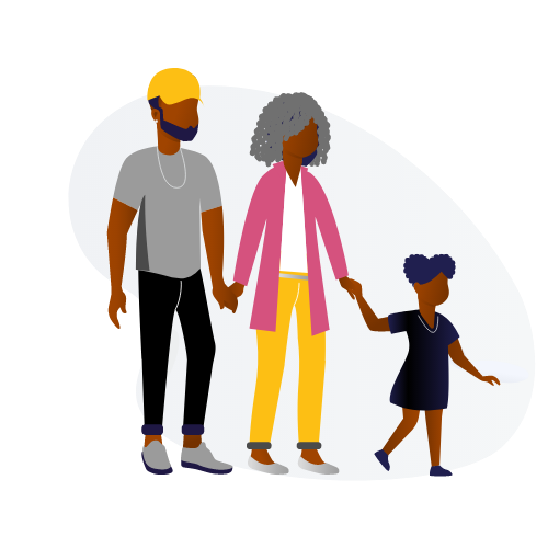 Black Family - Mom, Dad and Daughter at a nonprofit organization