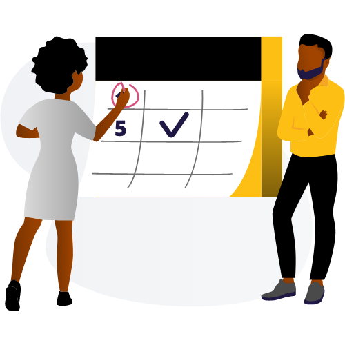 Black Man and Woman Working on Calendar